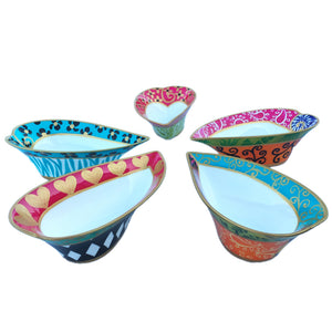 heart painted bone china bowl