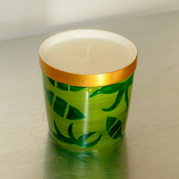 DIVERSITY LEAF - Luxury Scented Candle in Hand Painted Bone China Porcelain Candle Holder