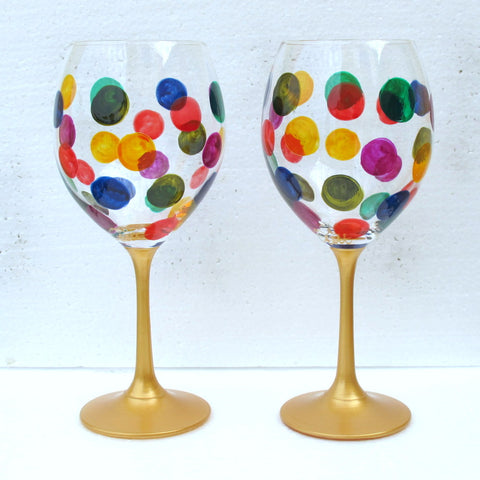 DOTTY  Hand Painted Crystal Wine Glasses, Six, gift boxed