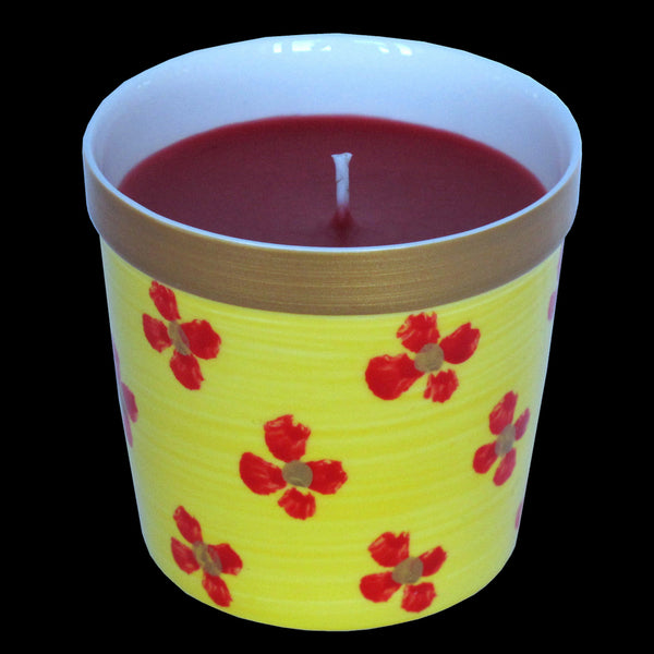 YELLOW PRINT - Luxury Scented Candle in Hand Painted Bone China Porcelain Candle Holder - Rose