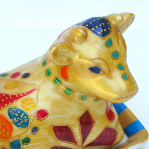 QUEEN OF SHEBA - Hand Painted Porcelain Cow Butter Dish