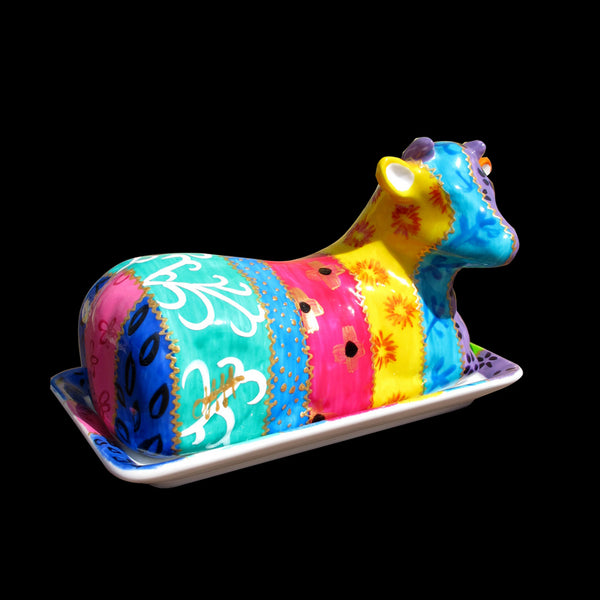 TSARINA - Cow Butter Dish in Hand Painted Porcelain