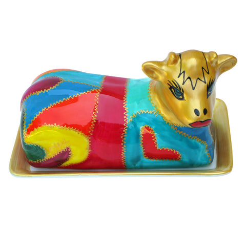CLEOPATRA - Cow Butter Dish of Hand Painted Porcelain