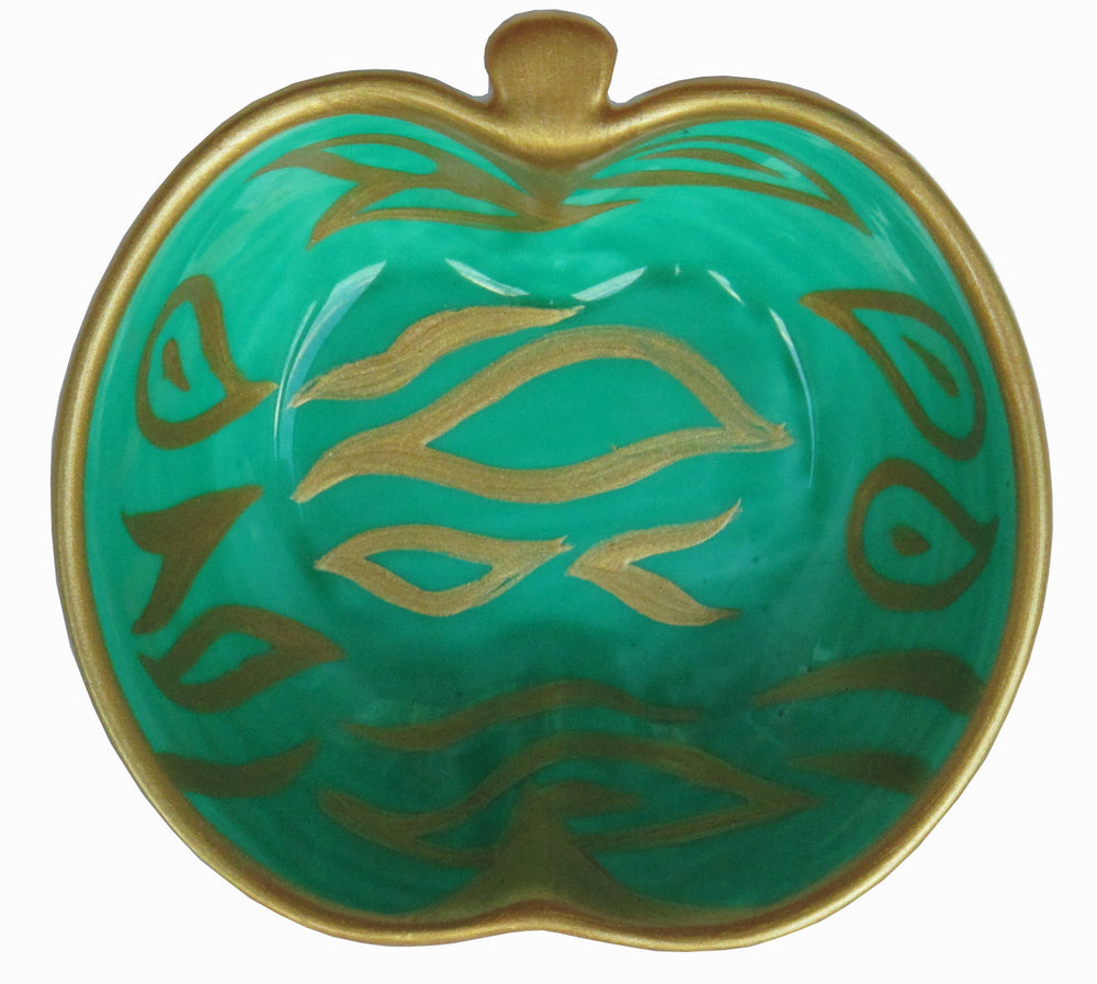 EMERALD APPLE BOWL - Hand Painted Bone China Apple Shaped Dish - Gift Boxed