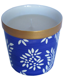 VIOLET FLORAL - Luxury Scented Candle in Hand Painted Bone China Porcelain Candle Holder