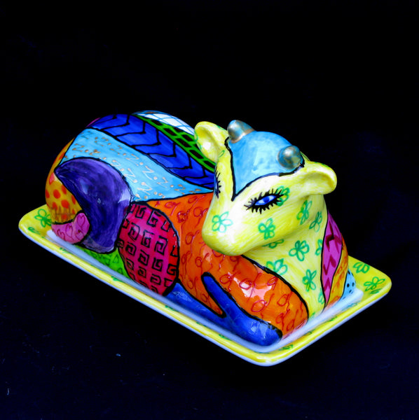COMMOTION - Cow Butter Dish Hand Painted Porcelain