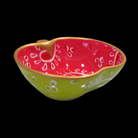TWO PAISLEYS - Hand Painted Bone China Apple Dish
