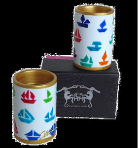 BOATS Pair of Hand Painted Porcelain Pillar Tea Light Holders, gift boxed