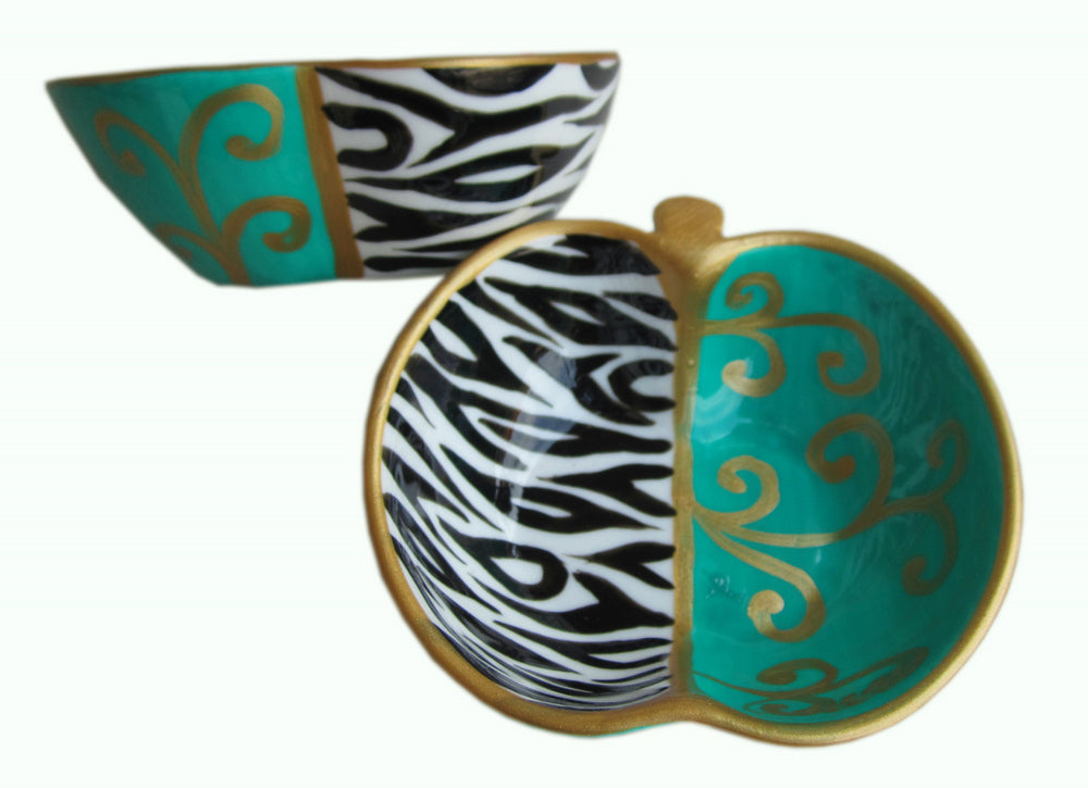 ZEBRA SCROLL - Hand Painted Bone China Dish - Gift Boxed