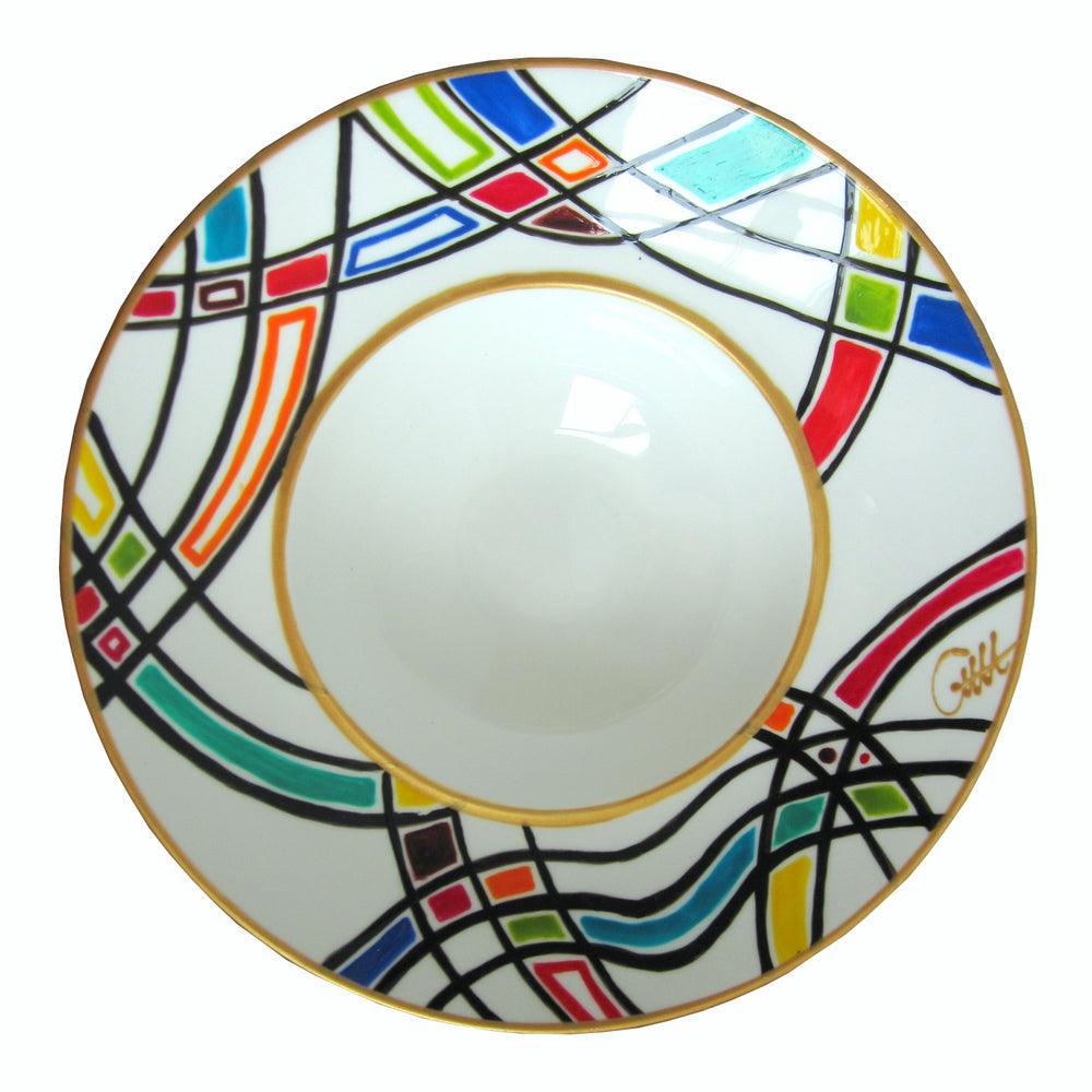 HARLEQUIN - Hand Painted Bone China Bowl - Limited Edition