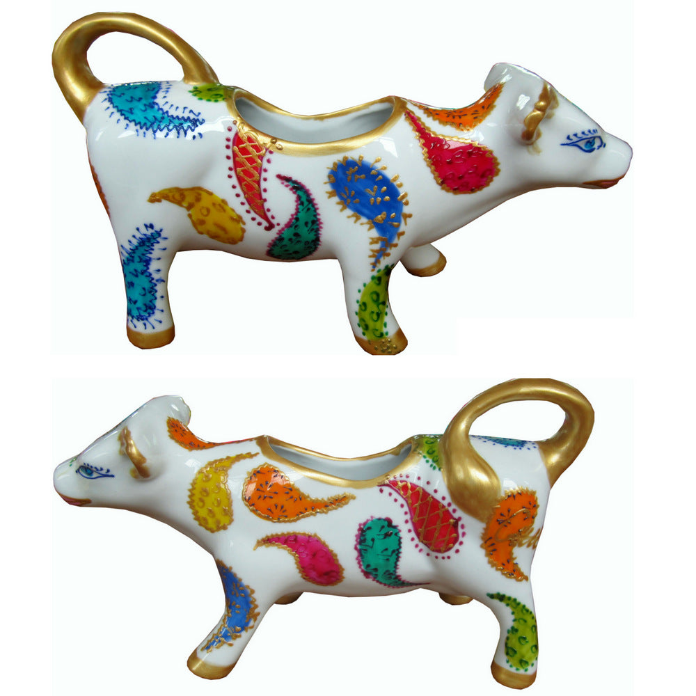 PAISLEY Cow Creamer Jug hand painted porcelain gift boxed