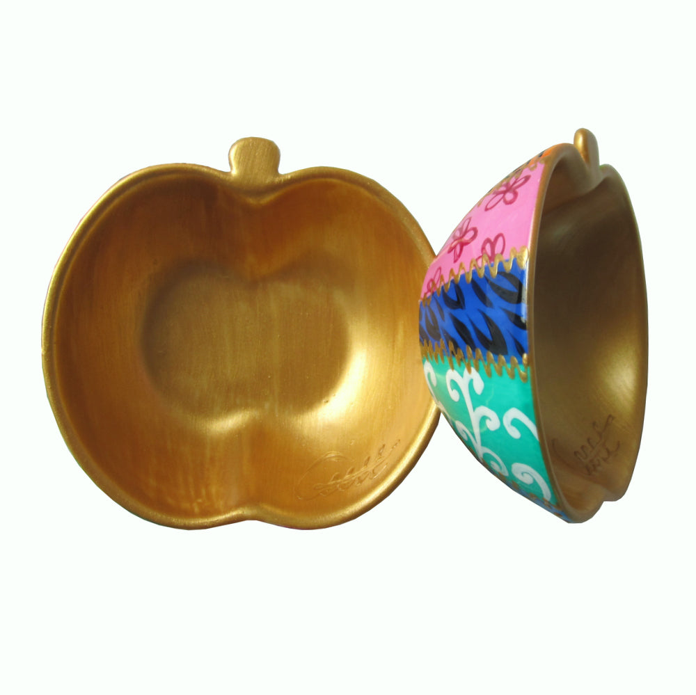 GOLD TSARINA  Hand Painted Apple Dish