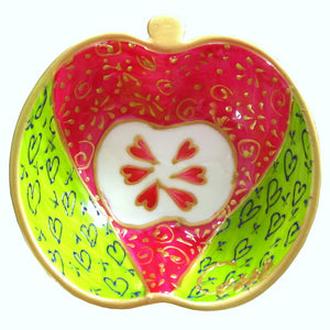 RING  Hand Painted Apple Dish
