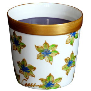 BLUE STARFLOWER Luxury Scented Candle in hand painted bone china candle holder