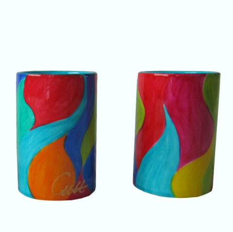 WAVES - Pair of Hand Painted Porcelain Pillar Tea Light Holders, gift boxed