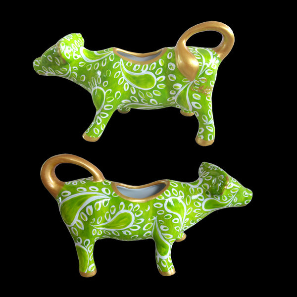 LIME PARFAIT Cow Creamer Jug hand painted porcelain gift boxed