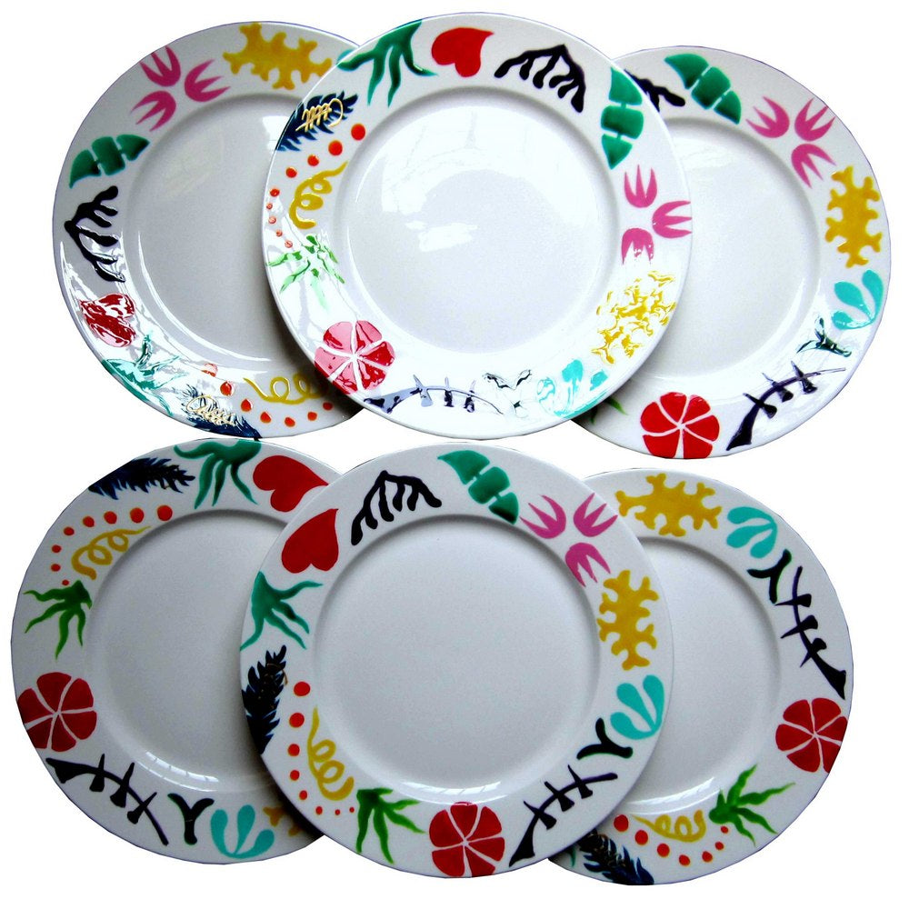 GEO Hand Painted Bone China Plates (6) gift boxed
