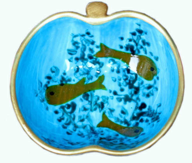 GOLDFISH  Hand Painted Apple Dish
