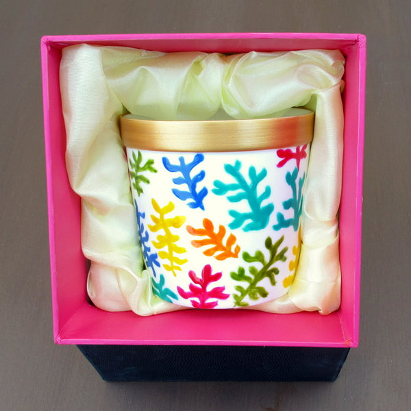 CORAL - Luxury Scent-sational Candle in Hand Painted Bone China