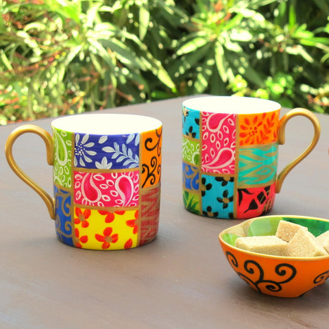 SQUARES - Set of Coffee Mugs in Hand Painted Bone China, gift boxed