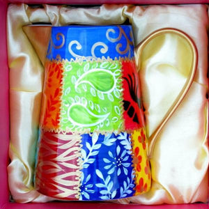 DIVERSITY SQUARES Hand Painted Porcelain Milk Jug, gift boxed