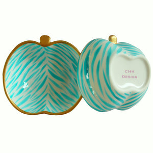 TURQUOISE ZEBRA  Hand Painted Apple Dish