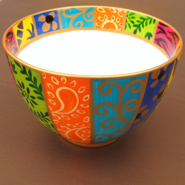 HAPPY - hand painted decorative bowl in bone china