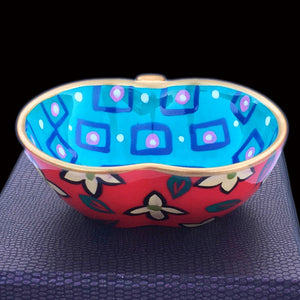 TURQUOISE ELYSIUM - Hand Painted Bone China Apple Dish