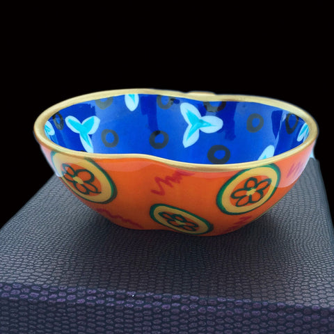 BLUE ELYSIUM - Hand Painted Bone China Apple Dish