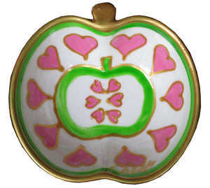 APPLE HEART - Hand Painted Bone China Dish