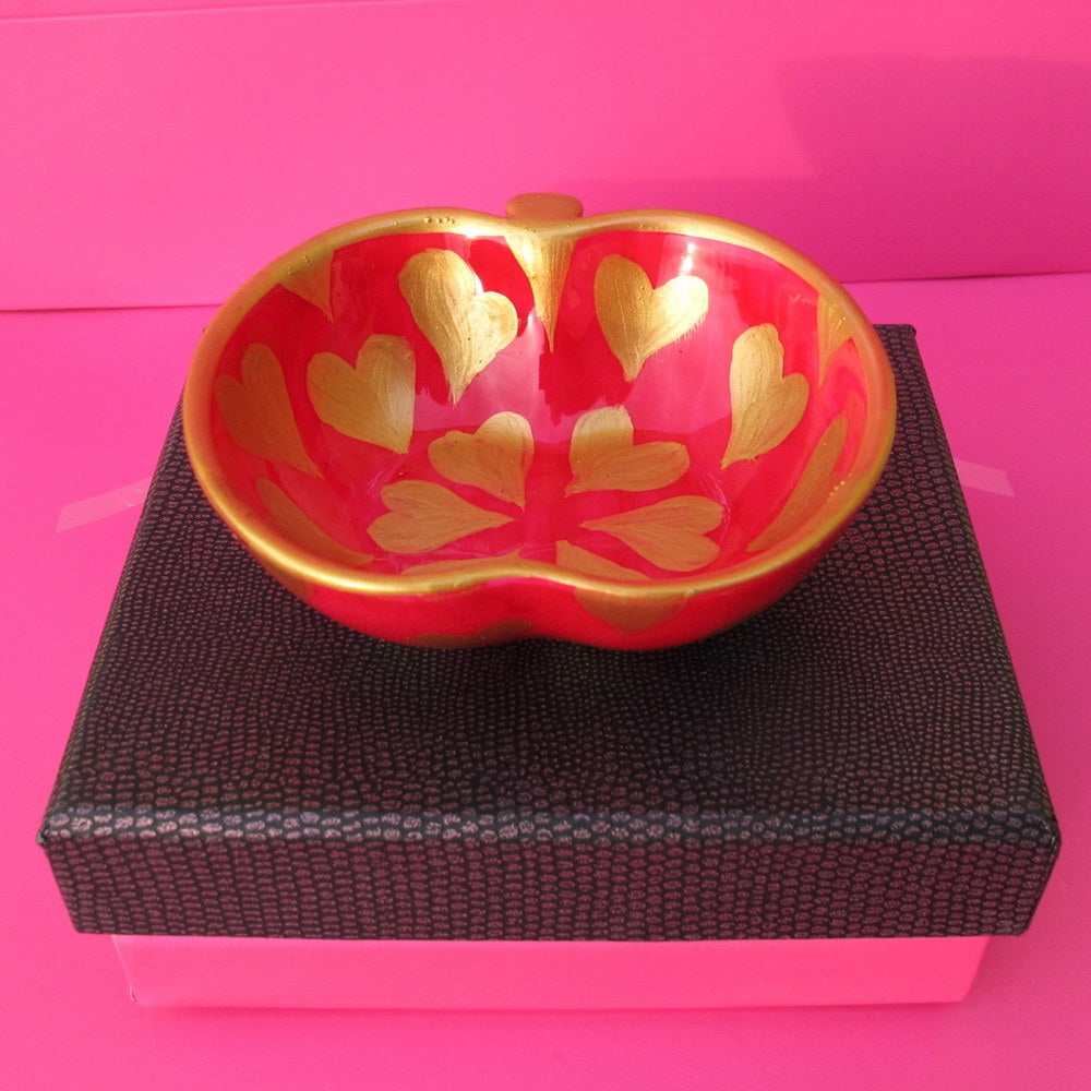 PINK GOLD HEARTS Hand Painted Bone China Dish