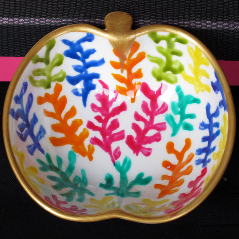 COLOUR CORAL - Hand Painted Bone China Dish
