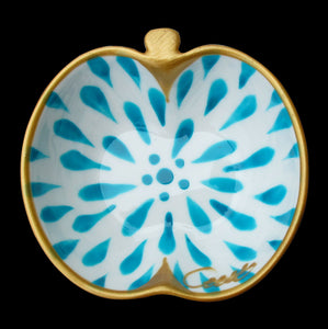 TURQUOISE SPLASH - Hand Painted Bone China Dish