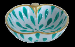 EMERALD SPLASH  Hand Painted Bone China Dish
