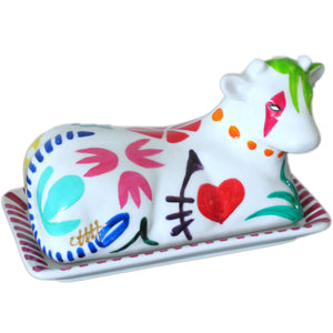 GEO - Hand Painted Cow Butter Dish in gift box