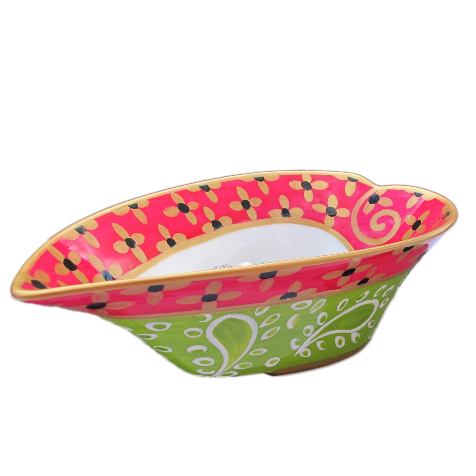 LIME PARFAIT - painted Heart Shaped Bowl in bone china, Gift boxed