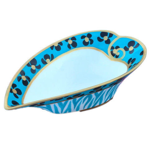 TURQUOISE PRINT - painted Heart Shaped Bowl in bone china, Gift boxed