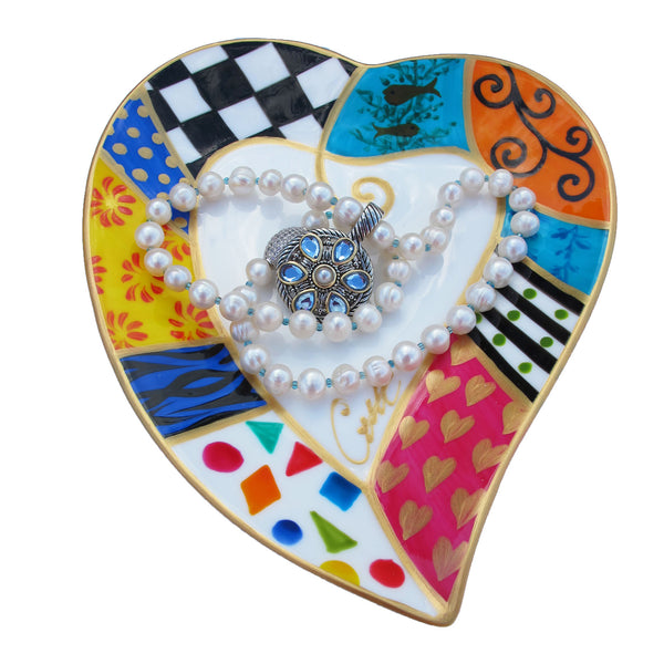 TUTTI Heart Shaped Plate in hand painted bone china, gift boxed