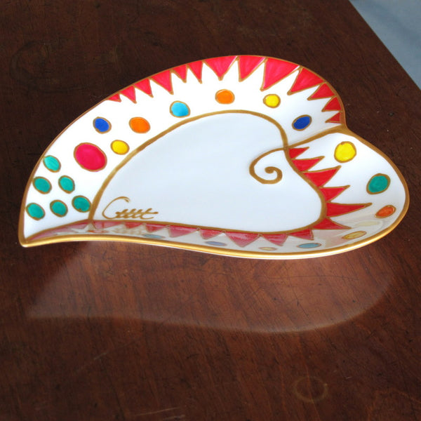 EMILIO Hand Painted Heart Plate in hand painted bone china, gift boxed