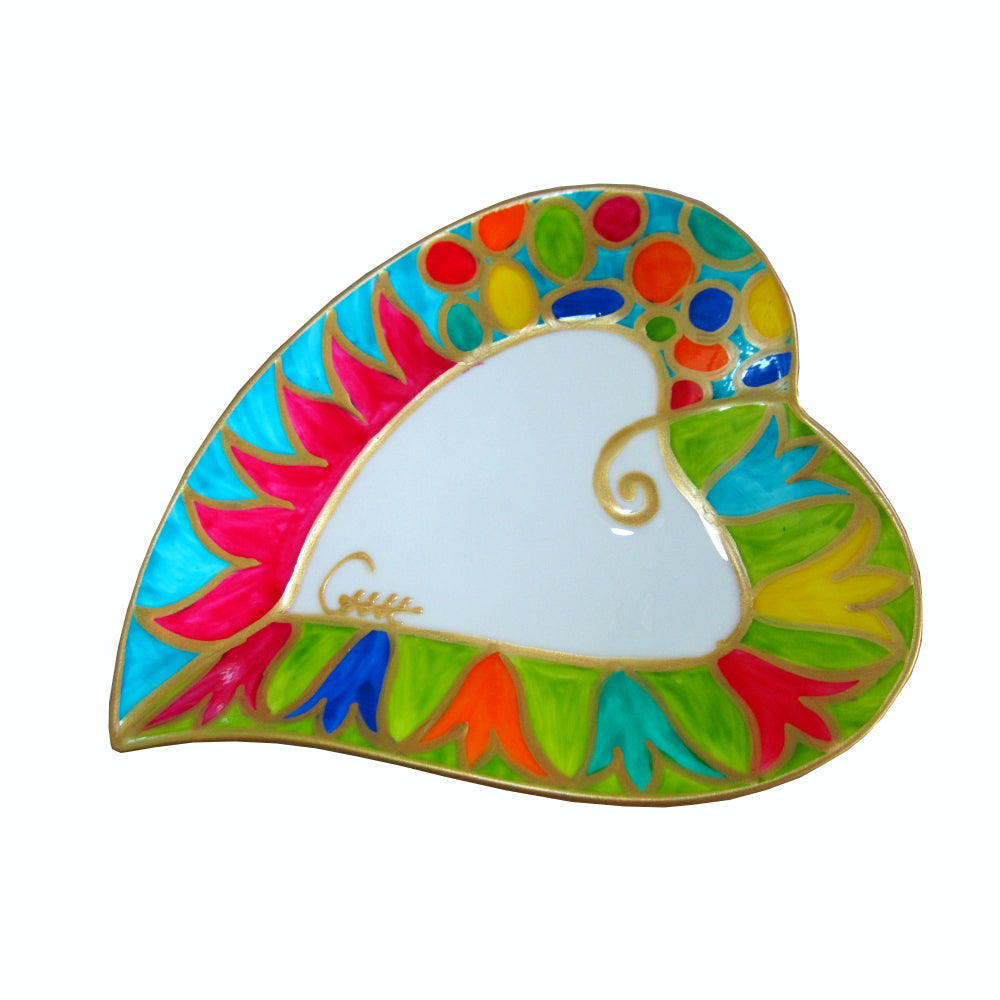 EMILIO Heart Shaped Plate in hand painted bone china, gift boxed
