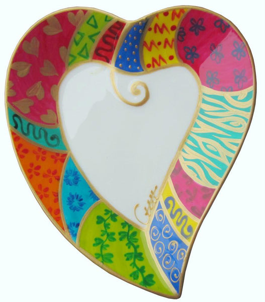 LOVE Heart Shaped Plate in hand painted bone china, gift boxed