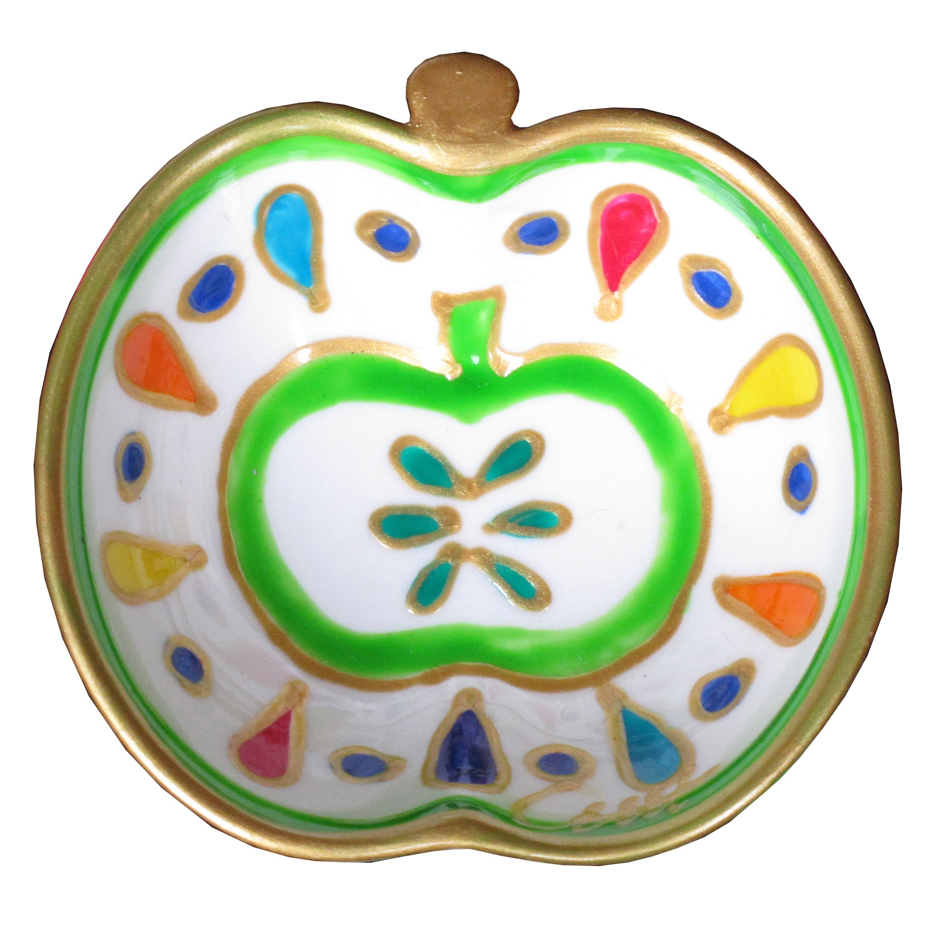 APPLE SPLASH - Hand Painted Bone China Dish