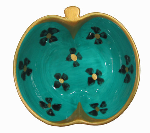 TURQUOISE PRINT - Hand Painted Bone China Apple Dish