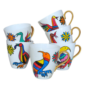 BIRDS - Set of Six Cappuccino Cups in Hand Painted Bone China, gift boxed