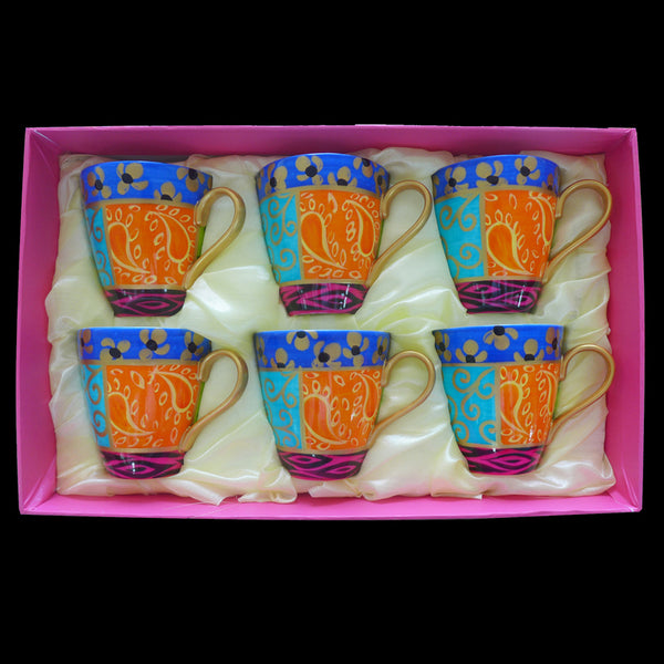 EUPHORIA - Set of Hand Painted Bone China Cappuccino cups, gift boxed