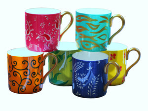 DIVERSITY 1 - Set of 6 Mugs in Hand Painted Bone China, gift boxed