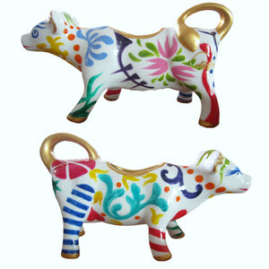 GEO Decorative Cow Creamer Jug hand painted porcelain gift boxed