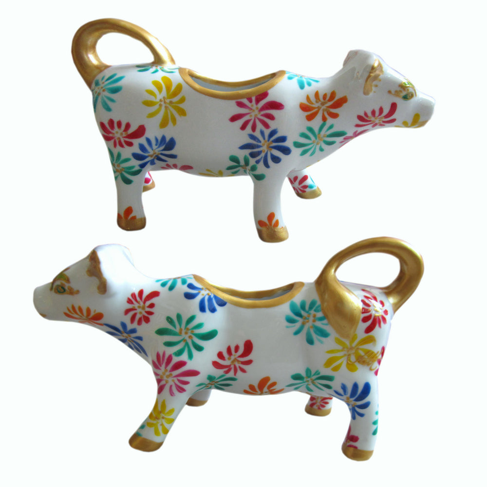 FIREWORK Cow Creamer Jug hand painted porcelain gift boxed