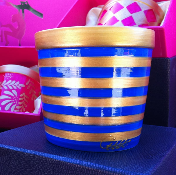 BLUE STRIPE Striped Scented Candle in painted bone china jar
