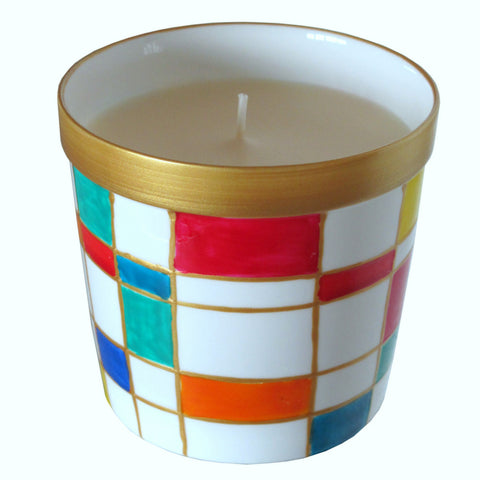 SQUARES Luxury Scented Candle in Hand Painted Bone China Porcelain Candle Holder